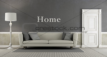 Gray vintage living room