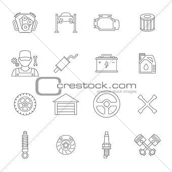 Auto service line icons set