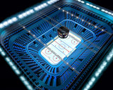 Ice hockey arena stadium 3D top view