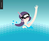Waving girl in diving mask in the water