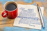 empowerment word cloud on napkin