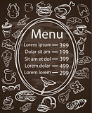 Seamless Food Menu Written on Chalkboard with  Decoration , Side