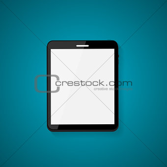 Abstract Design Realistic Tablet with Blank Screen on Blue Backg