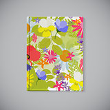 Book Cover. Abstract Natural Spring Pattern with Flowers and Lea