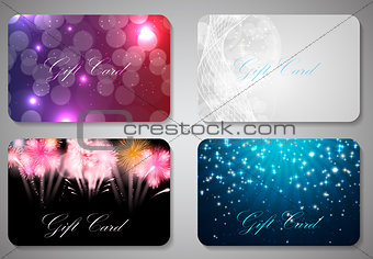 Beautiful Christmas and New Year Gift Card Template Set. Vector