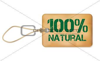 100% Natutal Old Paper Grunge Label Vector Illustration