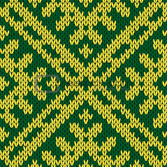 Knitting ornate seamless pattern in green and yellow colors