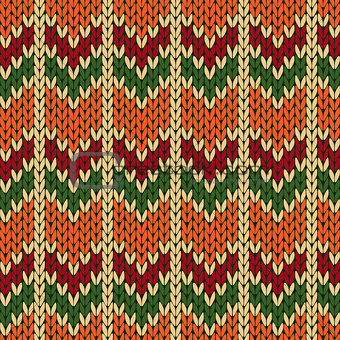 Knitting ornate seamless pattern with zigzag figures