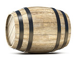 Wooden barrel. 3D