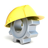 Machine gear with safe helmet. 3D