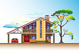 House, tree and clouds vector graphics