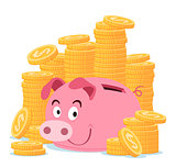 happy piggy bank surrounded by stack of gold coin