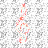 Red treble clef sign made up from music notes