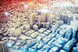 Futuristic city vision. 3D Rendering