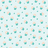cute rabbit in teacup and hearts illustration, seamless pattern on blue background