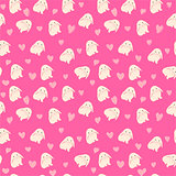 cute rabbit and hearts illustration, seamless pattern on pink background