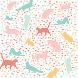 cats and hearts, seamless pattern