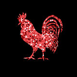 Red glitter rooster on black background.