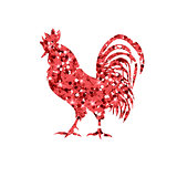 Red glitter rooster on white background.