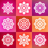 Set of Nine Vector Decorative Mandala Ornaments Illustration