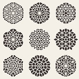 Set of Nine Black Vector Decorative Mandala Ornaments Illustration
