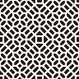 Vector Seamless Black And White Geometric Ethnic Mosaic Pattern