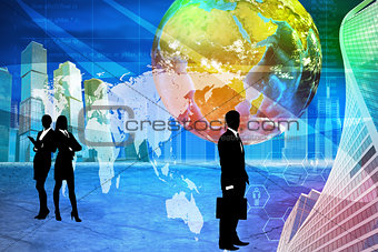 Business people with earth globe