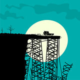 Car and Broken Bridge Vector Illustration