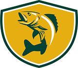 Walleye Fish Jumping Crest Retro