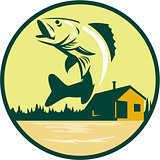 Walleye Fish Lake Lodge Cabin Circle Retro
