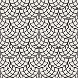 Vector Seamless Black and White Arc Shape Line Lattice Pattern