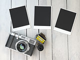 Retro camera, empty photo frames pictures and film canisterrs  o