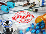 Diarrhea disease diagnosis. Stamp, stethoscope, syringe, blood t