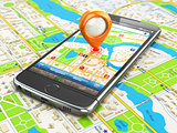 Mobile GPS navigation travel concept. Smartphonewith pin on city