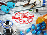Down syndrome disease diagnosis. Stamp, stethoscope, syringe, bl