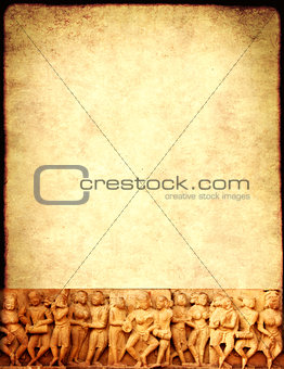 Grunge background with paper texture and carving famous erotic w
