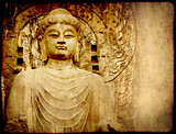 Grunge background with old paper texture and Buddha's statue