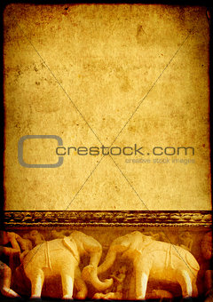 Grunge background with paper texture and carving famous elephant