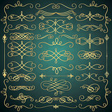 Vector Vintage Hand Drawn Golden Swirls Collection