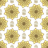 Vintage seamless pattern with golden lotus flowers