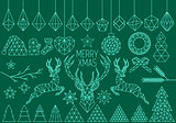 Geometric Christmas set, vector