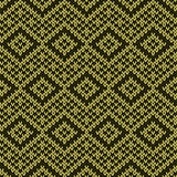 Knitting ornate seamless pattern in muted green and khaki colors