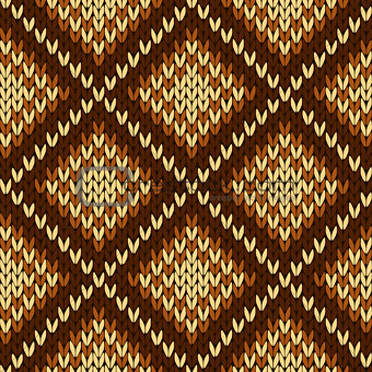 Knitting seamless ornate pattern in various hues of brown