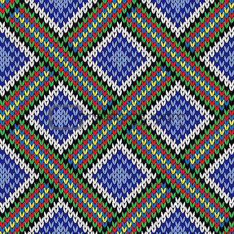 Knitting seamless colorful ornate pattern