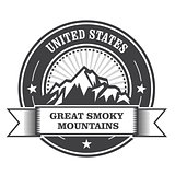 Great Smoky Mountains stamp - label with ribbon
