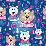 Christmas pattern with portraits of bears