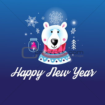 Greeting Christmas card with a picture of the bear