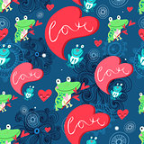 Graphic pattern with frog lovers