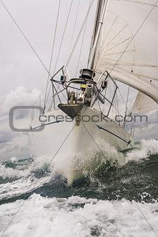 Close up of Sailing Boat or Yacht at sea