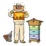 Beekeeper in protective gear holding honeycomb and smoker